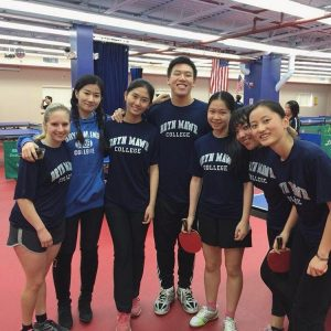 Bryn Mawr Ping Pong Club Team picture. L-R: Natalie Stern (post-bac), Vinty Guo '20, Maggie Zhong '20, Coach Dan, Alice Tang '18, me '18, Alice Zhu '20.